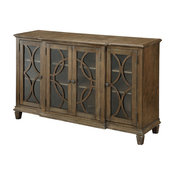 Teegan Transitional Wood Carved Dining Server, Wire Brushed Brown