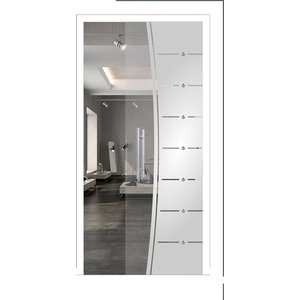 """Pocket Glass Sliding Barn Door and Frosted Design/Rhinestone, 28""""x80"""", Positive"""
