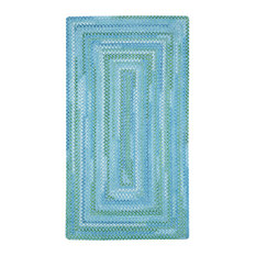 """Capel Rugs - Waterway Concentric Braided Rectangle Rug, Blue, 2'3""""x9' Runner - Hall and Stair Runners"""