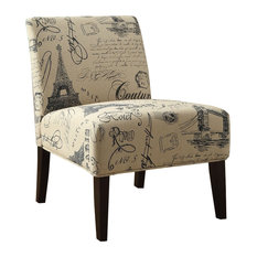 Wooden and Fabric Accent Chair, Multicolor