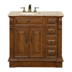 "38"" Transitional Single Sink Bathroom Vanity, (Left) Distressed Finish"