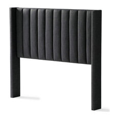Modern Headboard Ultra Plush Polyester Upholstery In Charcoal Full Size