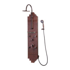 Navajo ShowerSpa Hammered Copper Shower Panel with Oil-Rubbed Bronze