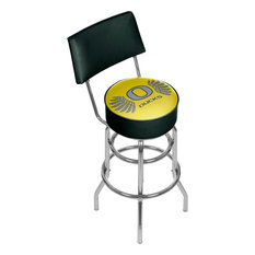 NCAA Padded Swivel Barstool With Back University Of Oregon Yellow Wings