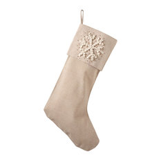Hand Knotted Snowflake Holiday Christmas Stocking