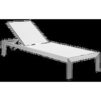 Shore Outdoor Aluminum Mesh Chaise, Silver White