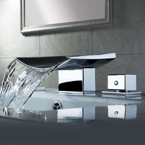 Grop Contemporary Waterfall Wide Spread Sink Faucet   Bathroom Sink Faucets