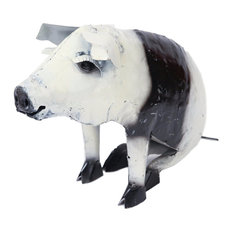 Mexican Imports - Recycled Metal Sitting Pig, Black and White - Garden Statues and Yard Art