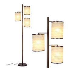 Brightech Liam - Asian Lantern Shade Tree LED Floor Lamp, Oil Brushed Bronze