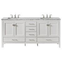"Eviva Aberdeen 84"" White Transitional Double Sink Bathroom Vanity White Carrar"