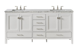 "Eviva Aberdeen 84"" White Transitional Double Sink Bathroom Vanity White Carrar"