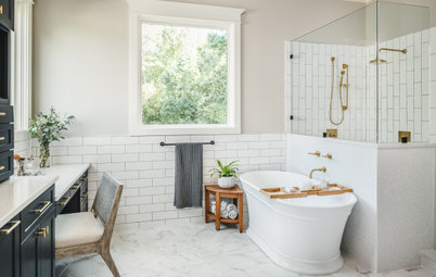 Room Tour: A Serene, Relaxing Bathroom in White, Navy and Brass