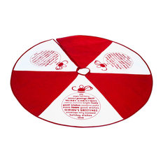 Imperial Home - Christmas Holidays Tree Skirt, Season's Greetings With Xmas Words, Red - Christmas Tree Skirts