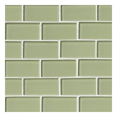 "12""x12"" Maserati Mint Green Glass Subway Tile, Set of 10"