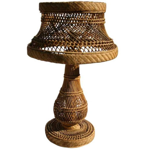 Vintage Wicker Woven Lamp   Table Lamps