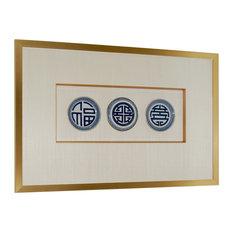 Framed Set Of 3 Blue and White Plates