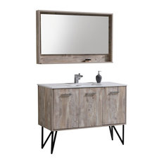 Bosco 48-inch Modern Bathroom Vanity With Quartz Countertop And Matching Mirror