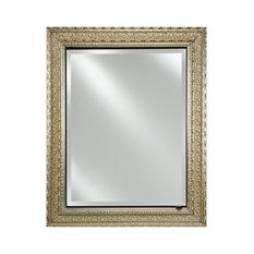 "Single Door Medicine Cabinet With Regal Frame, Antique Gold, 24""x30"""