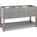 """Hardware Resources - 60"""" Grey Wavecrest Vanity Without Top - Contemporary vanity with shaker styling."""