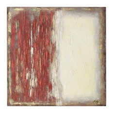 "Red and Cream Abstract Hand Painted Canvas, 36""x36"""
