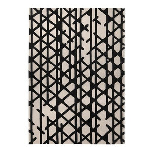 Artisan Pop Black Ivory Rectangular Funky Rug, 70x140 cm