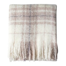 Check Mohair Throw, Heather Pink