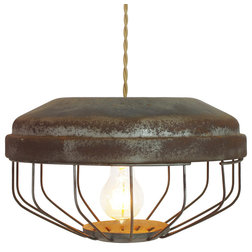 Popular Farmhouse Pendant Lighting Vintage Chicken Feeder Pendant Lamp Black Cloth Wire With Prong