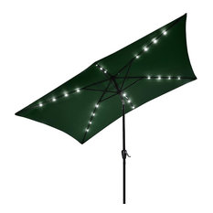 10x6.5 ' 20 Leds 6 Ribs Patio Solar Led Umbrella Tilt, Green
