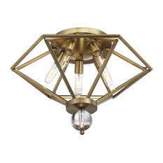 Five Light Open Fixture Flush Mount  - Geometric Style and Exposed Bulbs