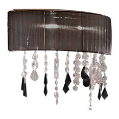 Paralume Black and Clear Crystal Wall Light, Black and Gold
