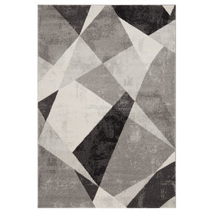 Nova Rectangular Rug, Grey and Black, 120x170 cm
