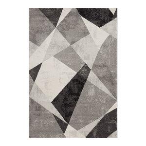 Nova Rectangular Rug, Grey and Black, 120x170 cm