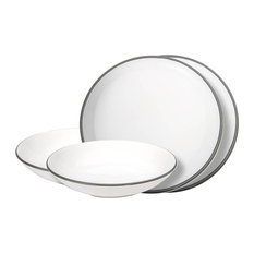 """""""Dinner for Two"""" Classic Tableware, Grey Rim, 4-Piece Set"""
