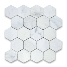 "12.25""x10.75"" Calacatta Gold Hexagon Mosaic Tile Polished, Chip Size 3"""