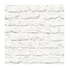 Faux Brick Wallpaper, White, Double Roll