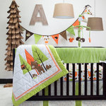Pam Grace Creations - Woodland Creatures Charming Forest 6 Piece Crib Bedding Set - Take a whimsical trip to enchantment with our Charming Forest Six Piece Crib Set. Soft orange and serene green in triangles and treeline print surround your baby's new woodland friends. Our 6 Piece set includes: