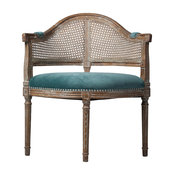 French Caned Back Occasion Chair With Blue Velvet