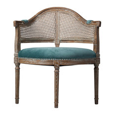 design tree - French Caned Back Occasion Chair With Blue Velvet - Armchairs and Accent Chairs