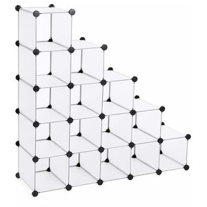 Modern 16 Cube Modular Shoe Rack, Metal Wire Grid With Anti-Tipping Straps
