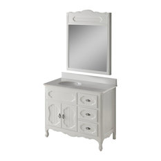 "42"" Cottage-Style Wht Knoxville Bathroom Sink Vanity With Mirror"