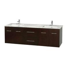 """72"""" Double Bathroom Vanity in Espresso, Marble Countertop, Undermount Sinks"""