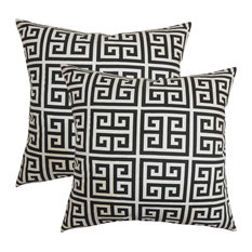 Paros Greek Key Throw Pillows, Set of 2, Black White