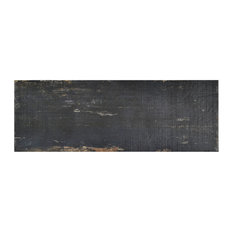 "8.25""x23.5"" Lambris Plank Porcelain Floor/Wall Tiles, Set of 8, Black"