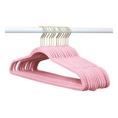Light Pink Velvet Suit Hangers, Light Pink With Gold