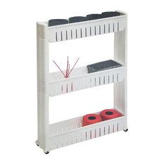 Evideco 3 Tier Slim Rolling Multi Purpose Utility Cart Kitchen-Bathroom White