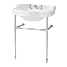 """Cheviot Products Antique Console Sink, 28"""", Brushed Nickel Frame"""
