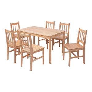 vidaXL 7-Piece Pinewood Dining Set, Brown
