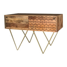 Nive Chevron Patterned Light Mango Wood Console Table With Gold Legs