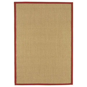 Sisal Rug, Linen With Red Border, 200x300 cm