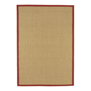 Sisal Rug, Linen With Red Border, 120x180 cm